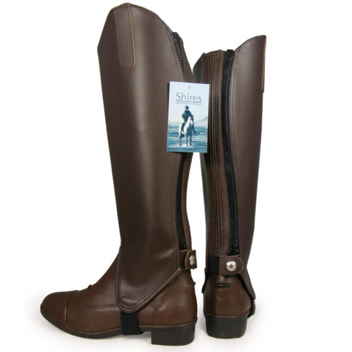 Shires Adult Leather Gaiters Brown